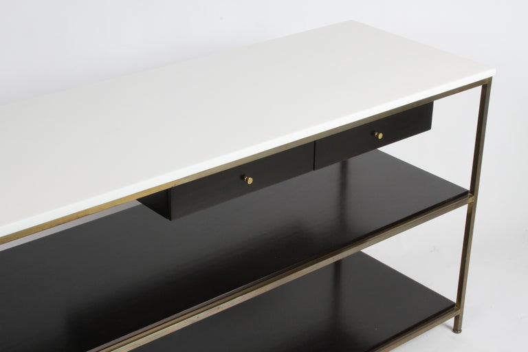 Paul McCobb for Calvin Console Table with White Vitrolite Top and Brass Frame In Good Condition For Sale In St. Louis, MO