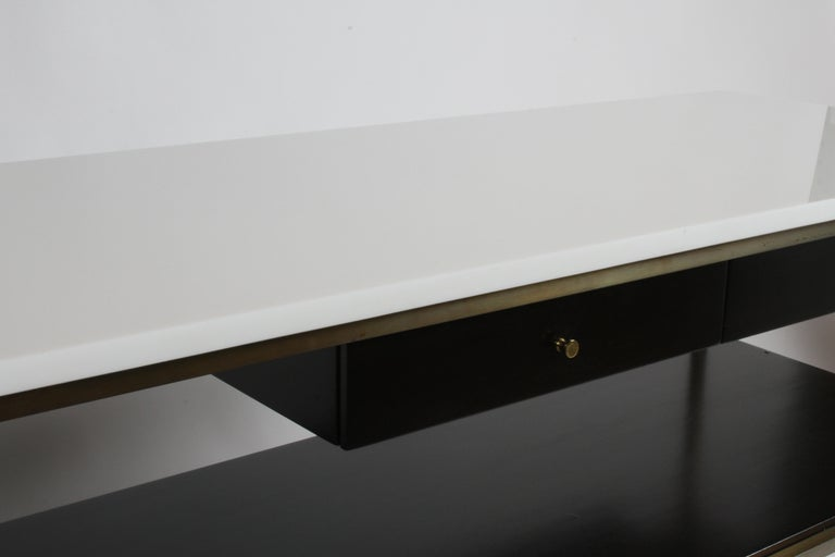 Paul McCobb for Calvin Console Table with White Vitrolite Top and Brass Frame For Sale 3