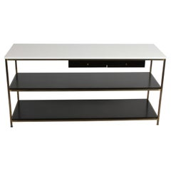 Paul McCobb for Calvin Console Table with White Vitrolite Top and Brass Frame