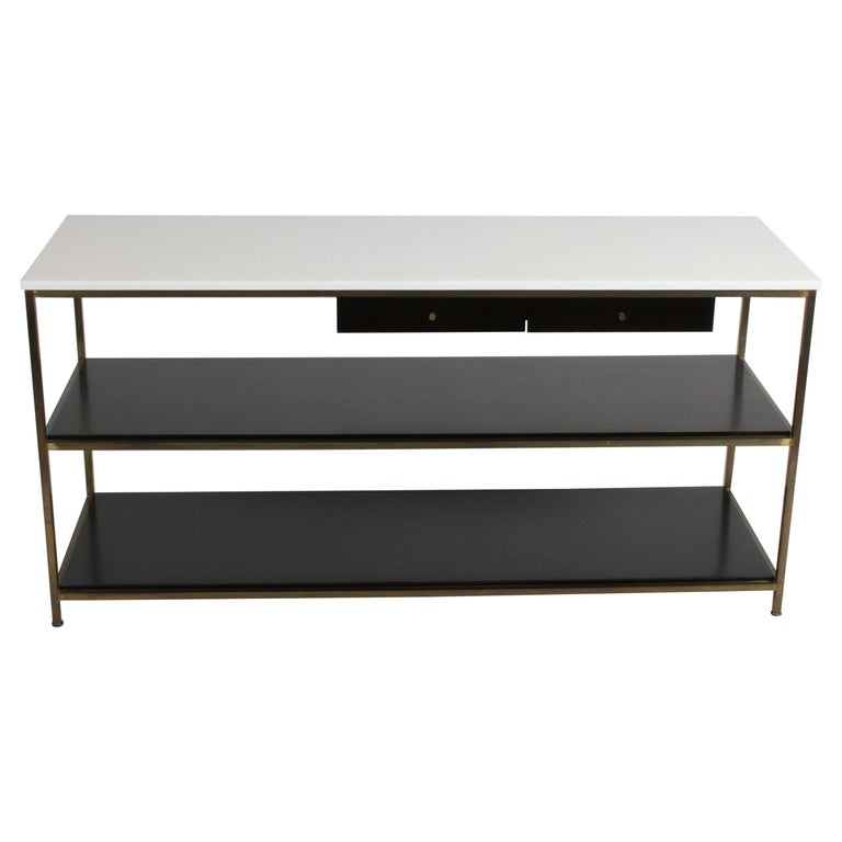 Paul McCobb for Calvin Console Table with White Vitrolite Top and Brass Frame For Sale