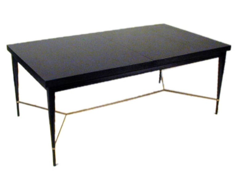 Mid-Century Modern Paul McCobb for Calvin Dining Table with Brass X Cross Support, Customizable For Sale