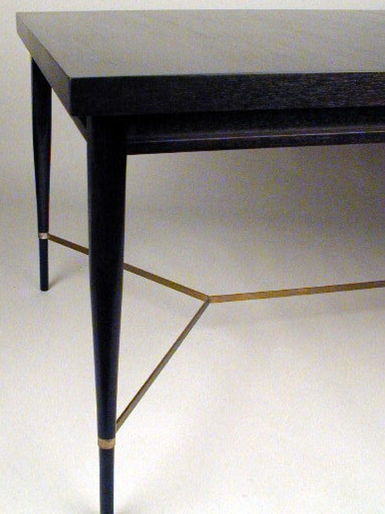 American Paul McCobb for Calvin Dining Table with Brass X Cross Support, Customizable For Sale