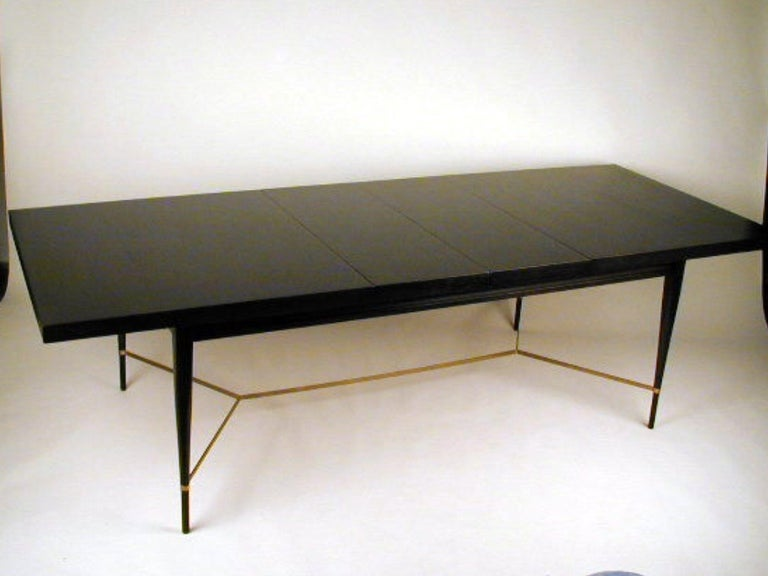 Polished Paul McCobb for Calvin Dining Table with Brass X Cross Support, Customizable For Sale