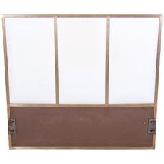 Paul McCobb for Calvin Furniture Brass and Naugahyde Twin Size Headboard