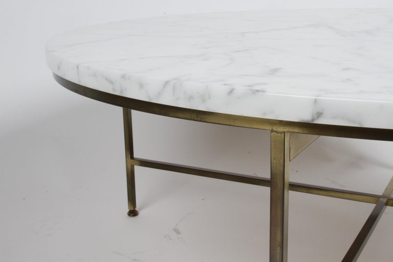 Paul McCobb for Calvin Furniture Round Calacatta Marble Top & Brass Coffee Table For Sale 5