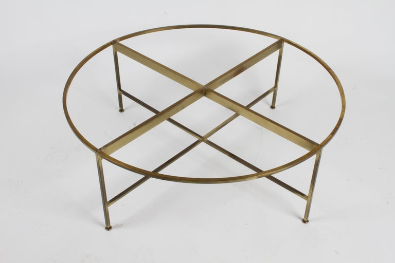 Paul McCobb for Calvin Furniture Round Calacatta Marble Top & Brass Coffee Table For Sale 7