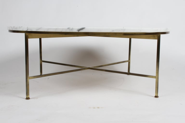 Paul McCobb for Calvin Furniture Round Calacatta Marble Top & Brass Coffee Table For Sale 1