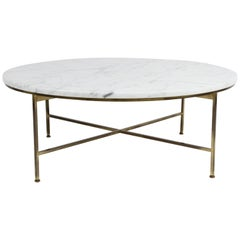 Paul McCobb for Calvin Furniture Round Calacatta Marble Top & Brass Coffee Table