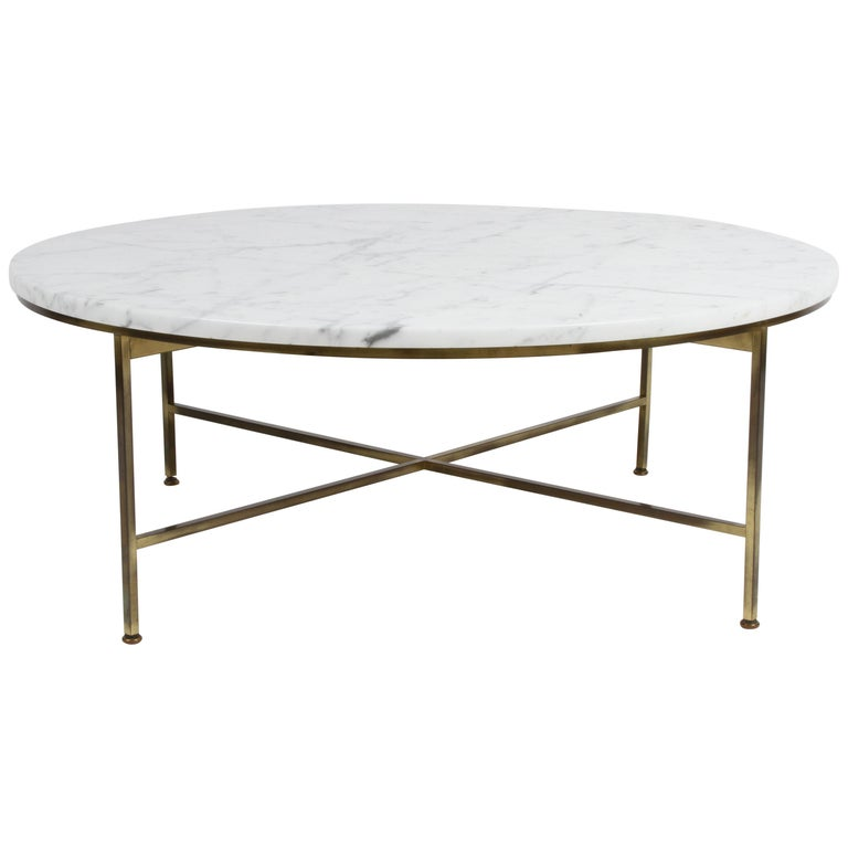 Paul McCobb for Calvin Furniture Round Calacatta Marble Top & Brass Coffee Table For Sale