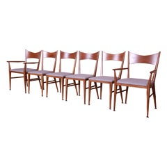 Paul McCobb for Calvin Furniture Sculpted Walnut Dining Chairs, Newly Refinished