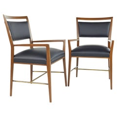 Paul McCobb for Calvin Mid Century Walnut Brass and Leather Captains Chairs - Pa