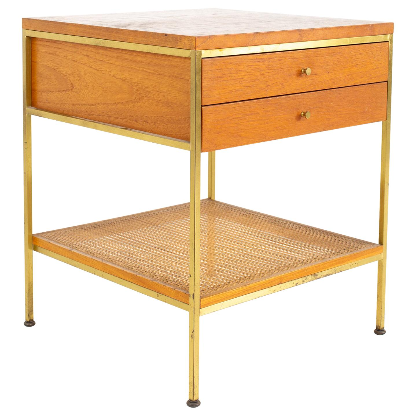 Paul McCobb for Calvin Group Mid Century Oak and Brass Nightstand