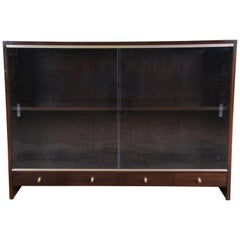 Paul McCobb for Calvin Irwin Collection Mahogany Glass Front Cabinet or Bookcase