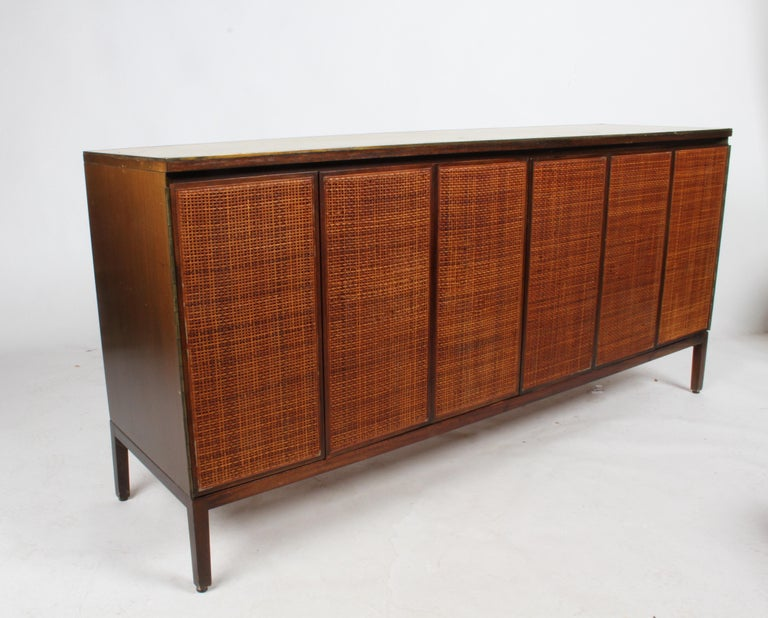 Paul McCobb for Calvin Leather Top and Caned Front Dresser or Sideboard For Sale 3