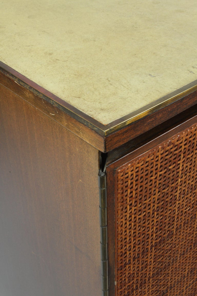 Paul McCobb for Calvin Leather Top and Caned Front Dresser or Sideboard For Sale 4