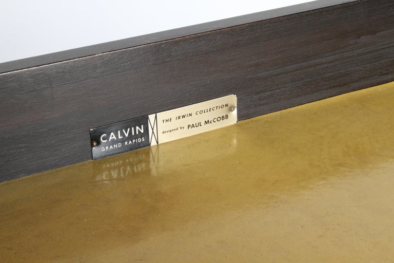 Paul McCobb for Calvin Leather Top and Caned Front Dresser or Sideboard 6