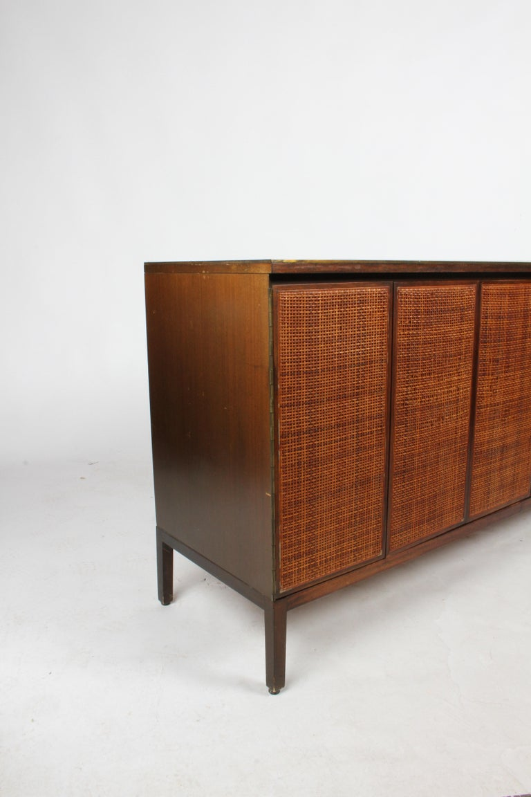 Paul McCobb for Calvin Leather Top and Caned Front Dresser or Sideboard For Sale 7