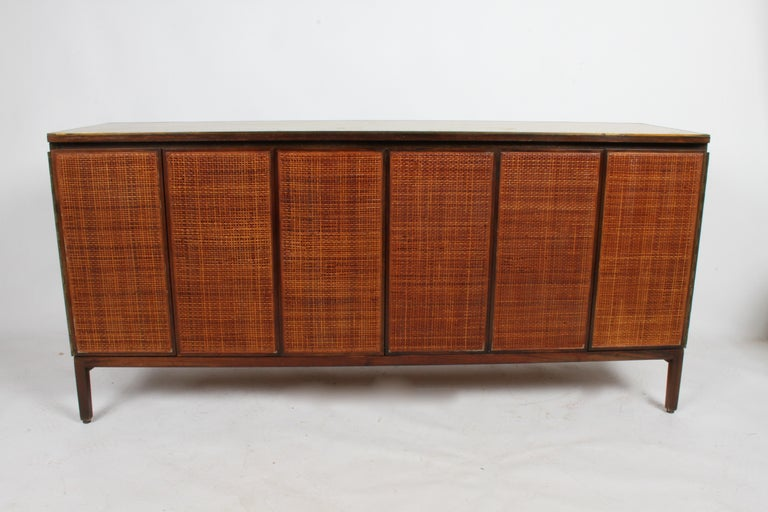 Paul McCobb for Calvin Leather Top and Caned Front Dresser or Sideboard For Sale 8
