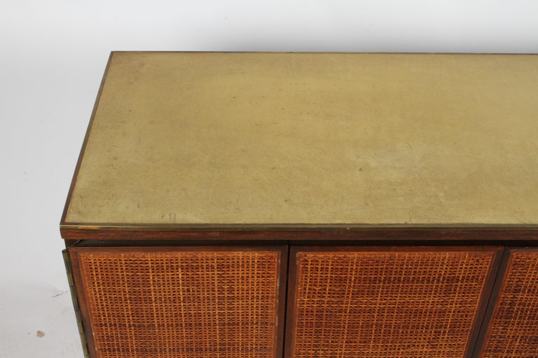 Mid-Century Modern Paul McCobb for Calvin Leather Top and Caned Front Dresser or Sideboard For Sale