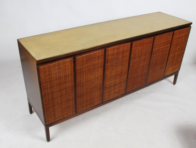 American Paul McCobb for Calvin Leather Top and Caned Front Dresser or Sideboard For Sale