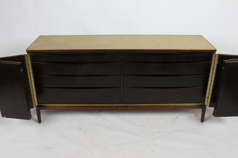 Paul McCobb for Calvin Leather Top and Caned Front Dresser or Sideboard In Good Condition For Sale In St. Louis, MO