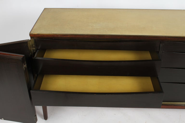 Mid-20th Century Paul McCobb for Calvin Leather Top and Caned Front Dresser or Sideboard