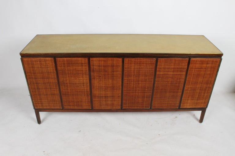 Brass Paul McCobb for Calvin Leather Top and Caned Front Dresser or Sideboard For Sale