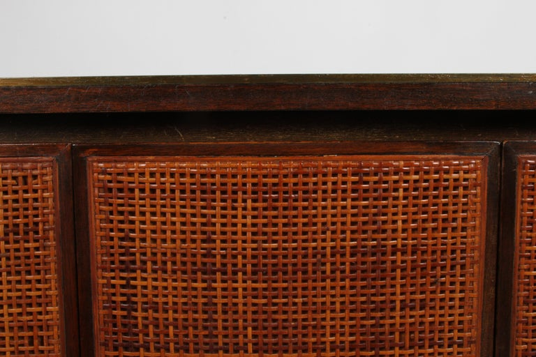 Paul McCobb for Calvin Leather Top and Caned Front Dresser or Sideboard For Sale 1
