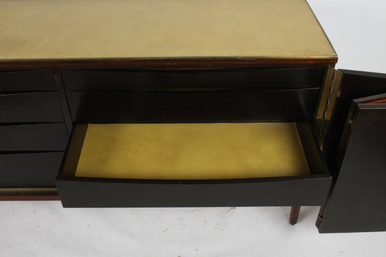 Paul McCobb for Calvin Leather Top and Caned Front Dresser or Sideboard For Sale 2