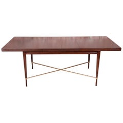 Paul McCobb for Calvin Mahogany and Brass Dining Table, Newly Refinished
