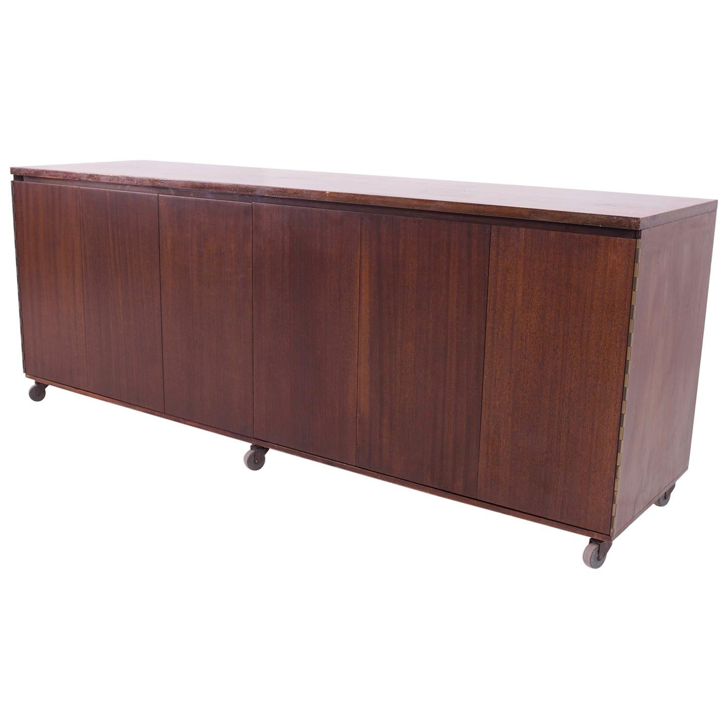 Paul McCobb for Calvin Mid Century 16-Drawer Mahogany and Brass Sideboard Buffet