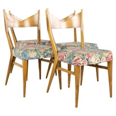 Paul McCobb for Calvin Mid Century Bowtie Walnut Dining Chairs, Set of 4