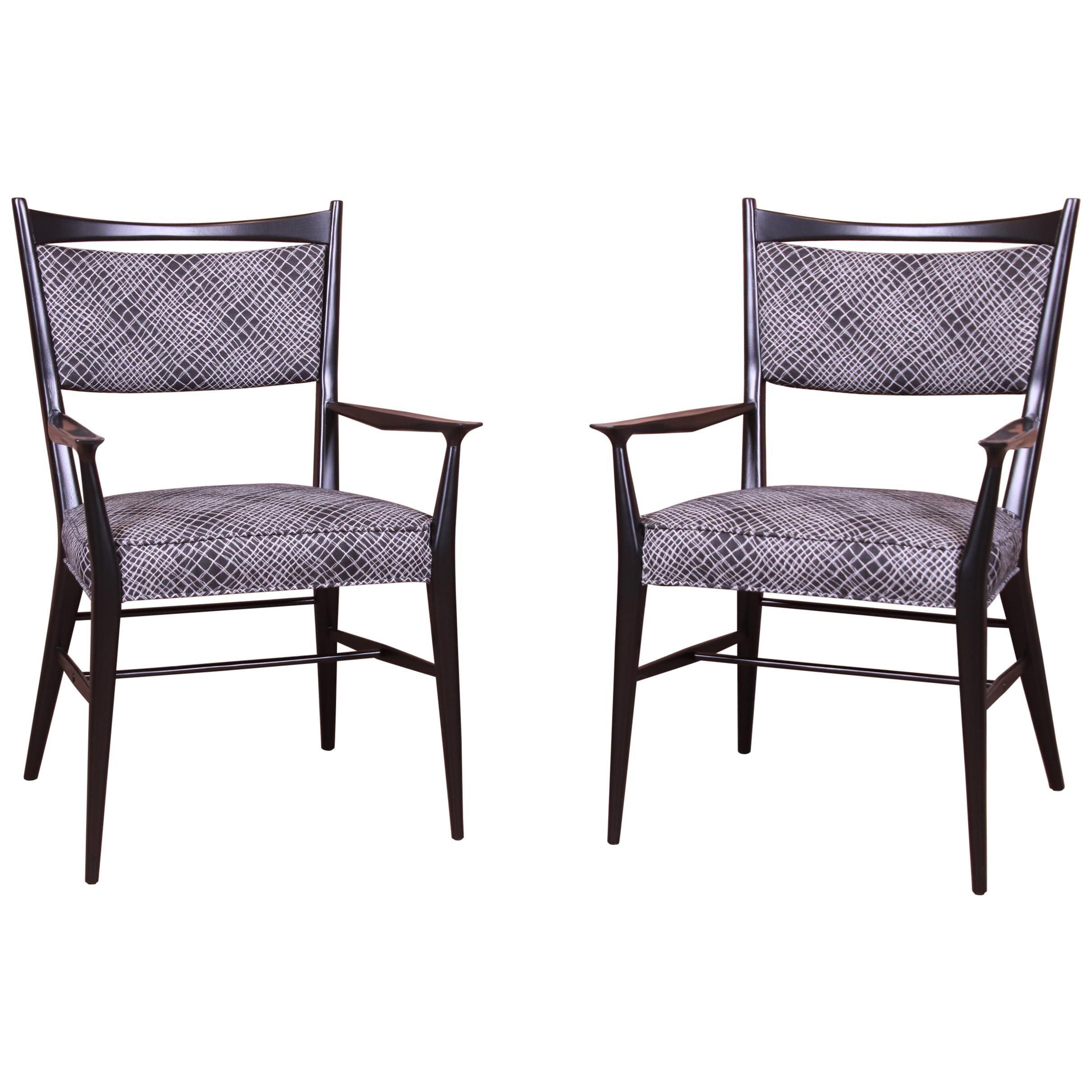 Paul McCobb for Calvin Mid-Century Modern Black Lacquered Armchairs, Pair