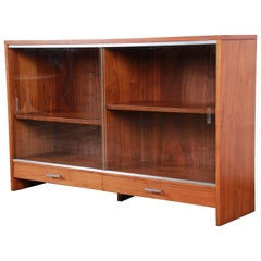 Paul McCobb for Calvin Mid-Century Modern Walnut Glass Front Bookcase