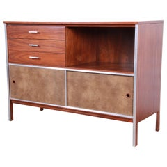 Paul McCobb for Calvin Midcentury Walnut Sliding Door Credenza, Refinished