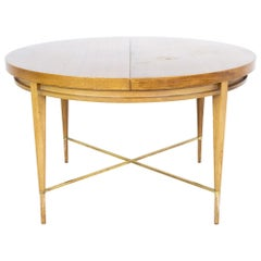 Paul McCobb for Calvin Mid MCM Mahogany Brass Expanding Round Oval Dining Table