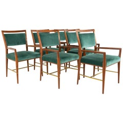 Paul McCobb for Calvin Mid Century Walnut and Brass Dining Armchairs, Set of 6