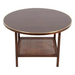 Paul McCobb for Calvin Round Mahogany, Wicker with Brass Trim Side or End Table