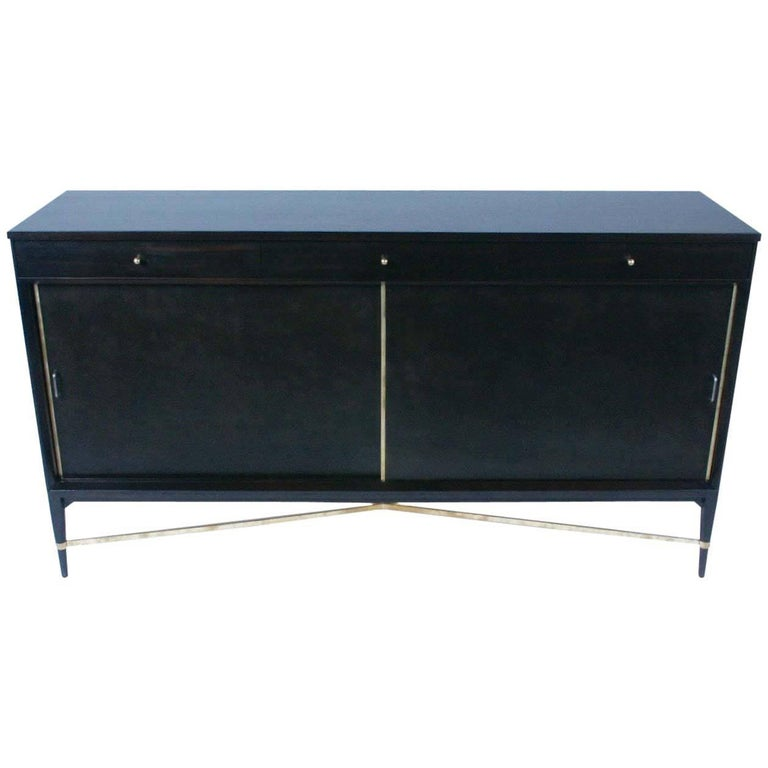 Paul McCobb for Calvin Sideboard with Brass X-Stretcher For Sale
