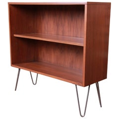 Paul McCobb for Calvin Walnut Bookcase on Hairpin Legs, Newly Refinished