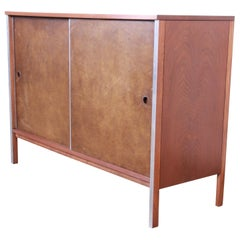 Paul McCobb for Calvin Walnut Sliding Door Credenza or Record Cabinet, 1950s