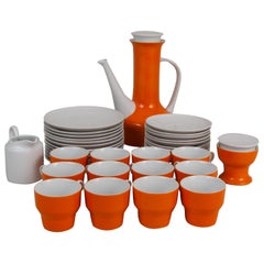 Paul McCobb for Contempi, Japan 38 Piece Ceramic Coffee Set in Orange and White