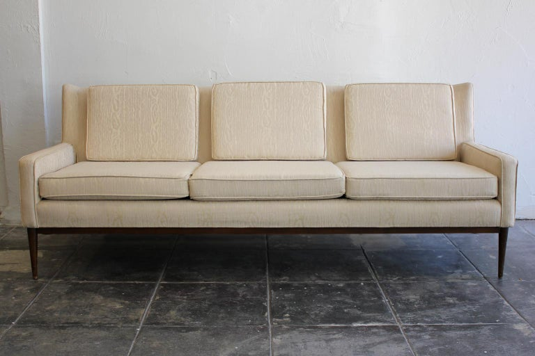Paul McCobb for Directional 1950s Modernist Wingback Sofa Model 1307 In Good Condition For Sale In San Diego, CA