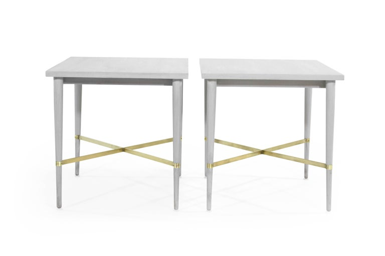 Mid-Century Modern Paul McCobb for Directional Brass Stretcher End Tables For Sale