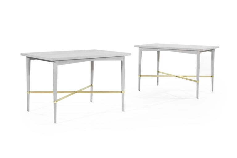American Paul McCobb for Directional Brass Stretcher End Tables For Sale