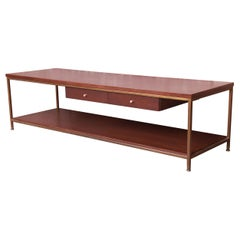 Paul McCobb for Directional Mahogany and Brass Coffee Table, Newly Refinished