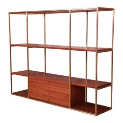Paul McCobb for Directional Mahogany and Brass Etagere or Room Divider, 1950s