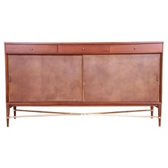 Paul McCobb for Directional Mahogany, Brass, and Leather Credenza, Refinished