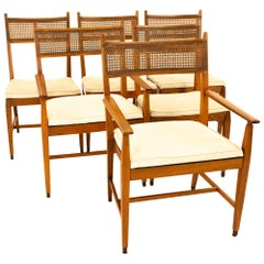 Paul McCobb for Directional Mid Century Walnut and Cane Dining Chairs, Set of 6