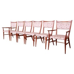 Paul McCobb for Directional Sculpted Walnut Dining Chairs, Set of Six
